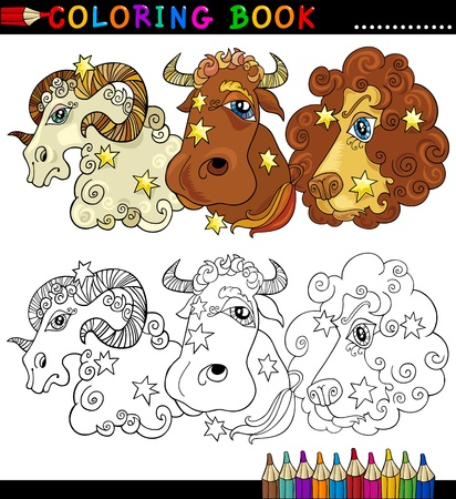 Coloring Book or Page Cartoon Illustration of Animals Fantasy Characters