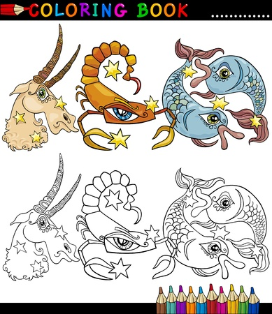 Coloring Book or Page Cartoon Illustration of Animals Fantasy Characters Vector