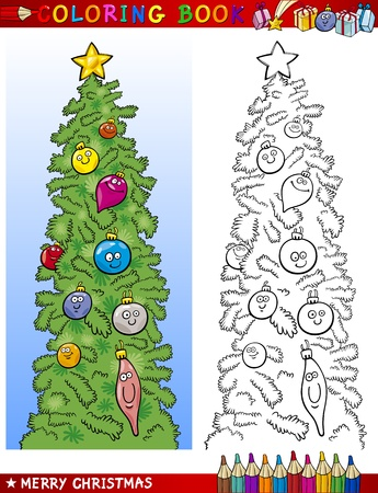 Coloring Book or Page Cartoon Illustration of Funny Christmas Tree Vector