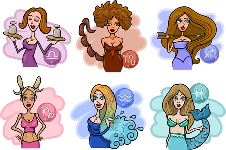 Cartoon Illustration of Horoscope Zodiac Signs with Beautiful Women Vector
