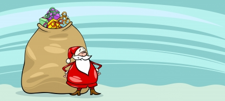 Greeting Card Cartoon Illustration of Santa Claus or Papa Noel with Big Sack full of Christmas Presents Vector