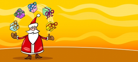 Greeting Card Cartoon Illustration of Santa Claus or Papa Noel with Christmas Presents Vector