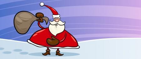 papa noel: Greeting Card Cartoon Illustration of Santa Claus or Papa Noel with Sack full of Christmas Presents Illustration