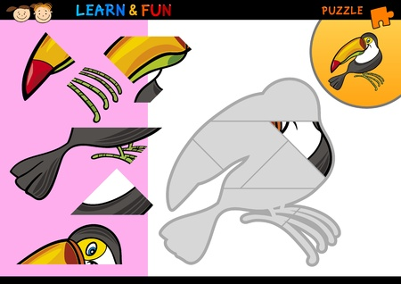 tucan: Cartoon Illustration of Education Puzzle Game for Preschool Children with Funny Toucan