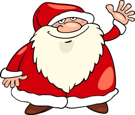 father christmas: Cartoon Illustration of Funny Father Christmas or Santa Claus or Papa Noel Illustration