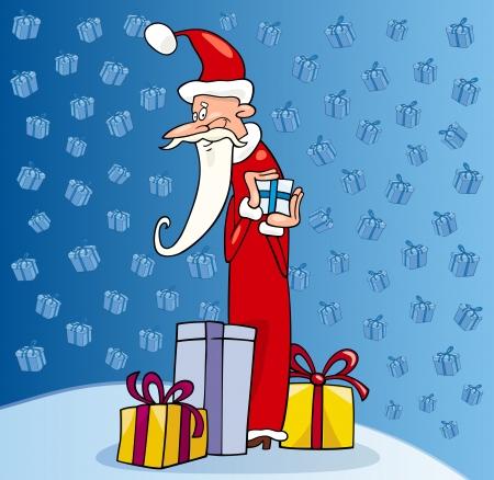 papa noel navidad: Ilustraci�n de dibujos animados de Funny Santa Claus o Pap� Noel con los presentes y los regalos de Navidad