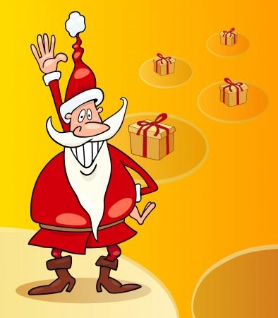 papa noel navidad: Cartoon Ilustraci�n de Funny Santa Claus o Papa Noel con los presentes y los regalos de Navidad