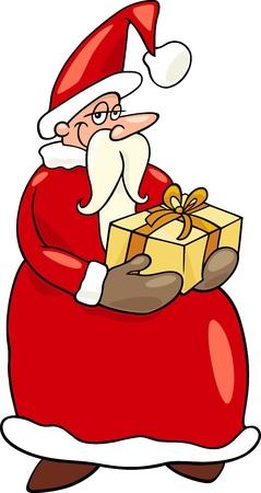 papa noel navidad: Ilustraci�n de dibujos animados de Funny Santa Claus o Pap� Noel con la Navidad Presente y Regalo Vectores