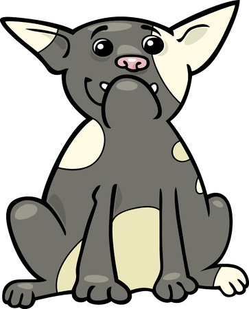 Cartoon Illustration of Funny Purebred French Bulldog Dog Vector