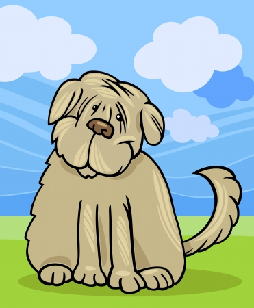 Cartoon Illustration of Funny Purebred Tibetan Terrier Dog or Labrador Doodle or Briard against Blue Sky and Green Grass Illustration
