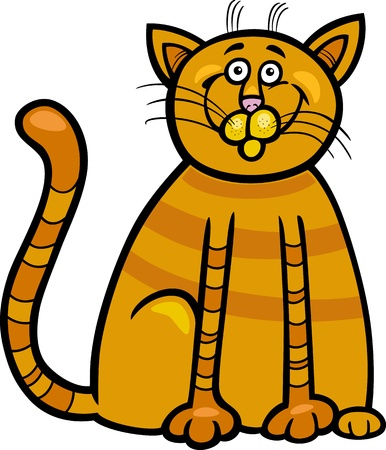 mouser: Cartoon Illustration of Happy Red Tabby Cat
