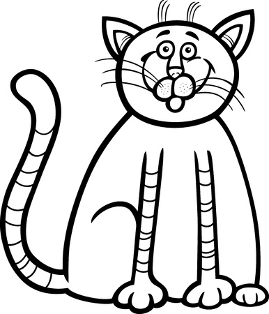 mouser: Cartoon Illustration of Happy Tabby Cat for Coloring Book