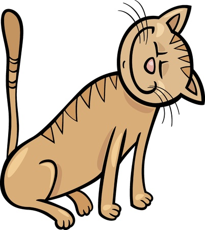 moggy: Cartoon Illustration of Happy Beige Tabby Cat