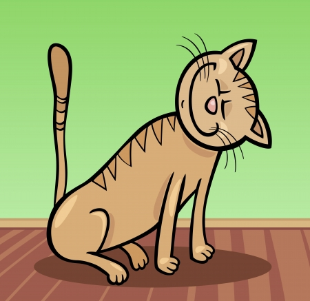 moggy: Cartoon Illustration of Happy Beige Tabby Cat at Home