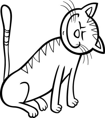 moggy: Cartoon Illustration of Happy Tabby Cat for Coloring Book