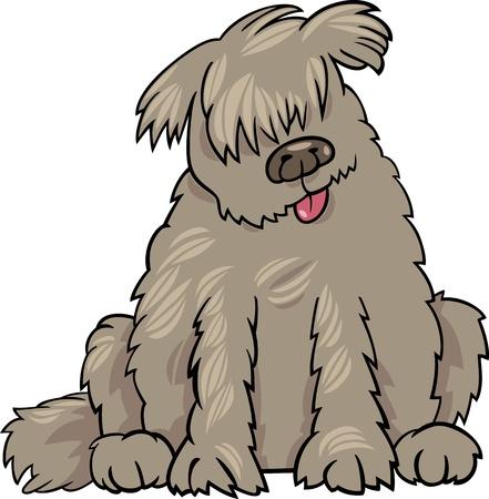 cane terranova: Illustrazione del fumetto di Funny Dog Terranova razza Labrador o Doodle o Briard