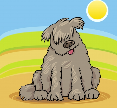 labrador doodle: Cartoon Illustration of Funny Purebred Newfoundland Dog or Labrador Doodle or Briard against Blue Sky and Fields