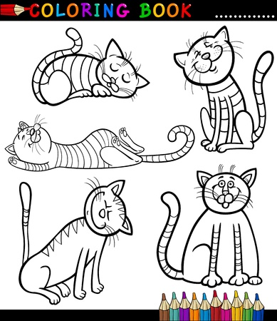Coloring Book or Page Cartoon Illustration of Funny Cats or Kittens for Children Vector