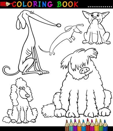 terranova: Coloring Book o Cartoon Illustrazione Pagina di cani divertenti per i bambini o cuccioli Vettoriali