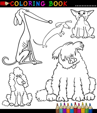Coloring Book or Page Cartoon Illustration of Funny Dogs or Puppies for Kids Vector