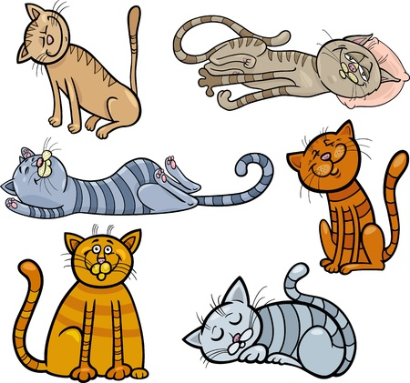 moggie: Cartoon Illustration of Happy and Sleepy Cats or Kittens Set Illustration