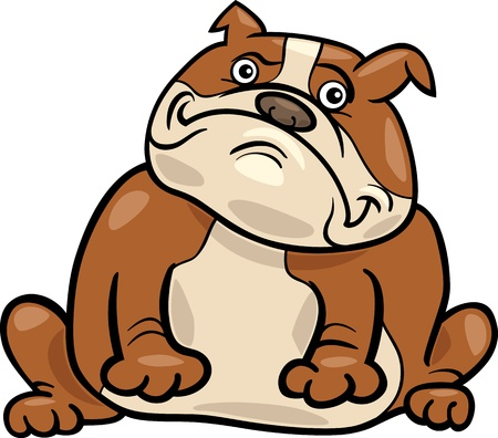 Cartoon Illustration of Funny Purebred English Bulldog Dog