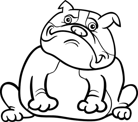 Cartoon Illustration of Funny Purebred English Bulldog Dog for Coloring Book Vector