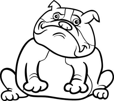 english bulldog: Cartoon Illustration of Funny Purebred English Bulldog Dog for Coloring Book