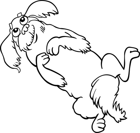 Cartoon Illustration of Happy Fluffy Dog or Pekingese for Coloring Book Vector