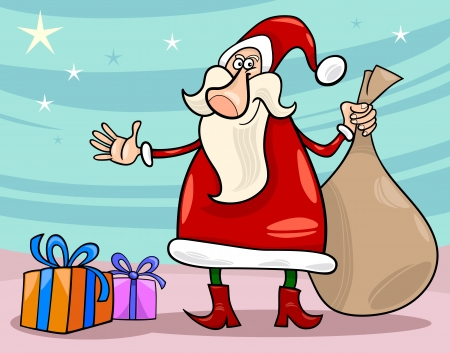 Cartoon Illustration of Funny Santa Claus or Papa Noel with Christmas Presents and Sack of Gifts Vector