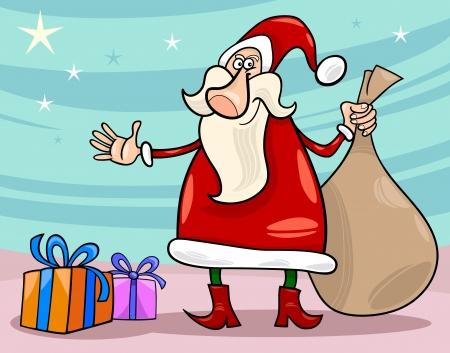 papa noel navidad: Ilustraci�n de dibujos animados de Funny Santa Claus o Pap� Noel con regalos de Navidad y saco de regalos