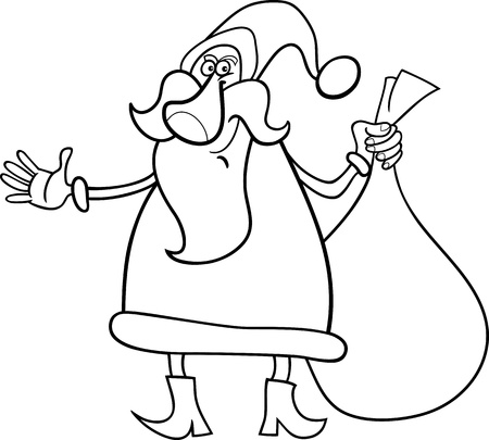 papa noel: Cartoon Illustration of Funny Santa Claus or Papa Noel with Sack of Christmas Presents for Coloring Book