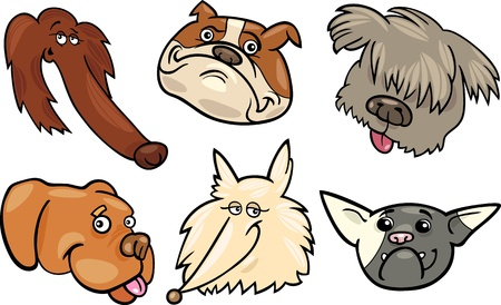 eskimo dog: Cartoon Illustration of Different Happy Dogs Heads Collection Set