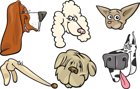Cartoon Illustration of Different Happy Dogs Heads Collection Set Vector