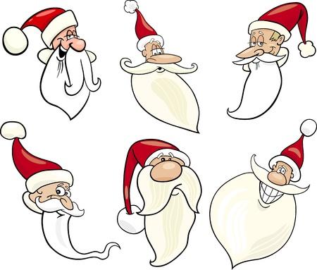 papa noel navidad: Ilustraci�n de dibujos animados de Santa Claus o Pap� Noel o del padre Christmas Icons caras felices Set