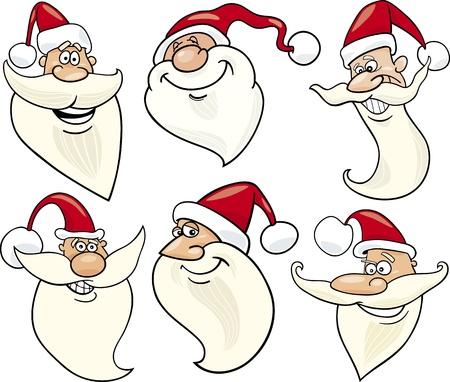 papa noel: Cartoon Illustration of Santa Claus or Papa Noel or Father Christmas Happy Faces Icons Set