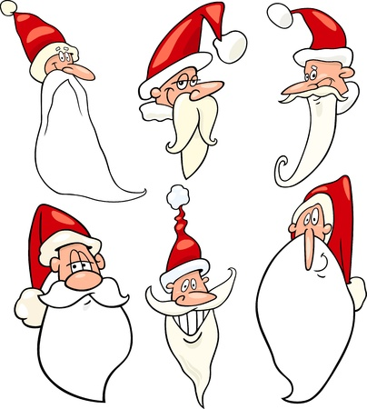 santa cap: Cartoon Illustration of Santa Claus or Papa Noel or Father Christmas Happy Faces Icons Set
