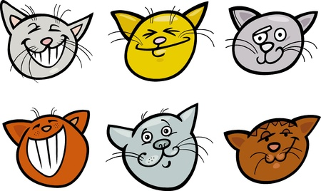 Cartoon Illustration of Different Happy Cats ot Kittens Heads Collection Set Illustration