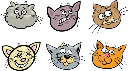 gray cat: Cartoon Illustration of Different Happy Cats ot Kittens Heads Collection Set Illustration
