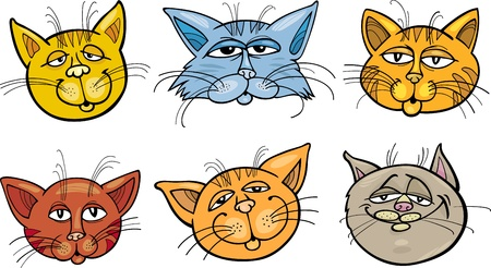 mouser: Cartoon Illustration of Different Happy Cats ot Kittens Heads Collection Set Illustration