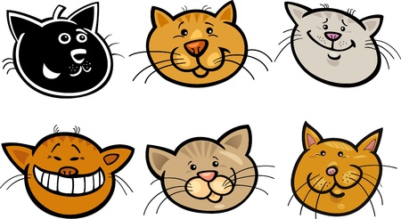 meow: Cartoon Illustration of Different Happy Cats ot Kittens Heads Collection Set Illustration