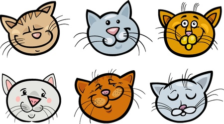 moggie: Cartoon Illustration of Different Happy Cats ot Kittens Heads Collection Set Illustration