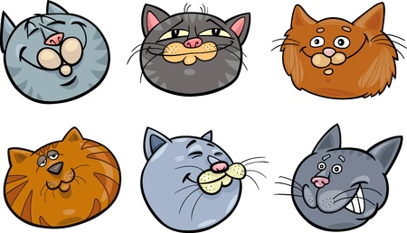 grey cat: Cartoon Illustration of Different Happy Cats ot Kittens Heads Collection Set Illustration