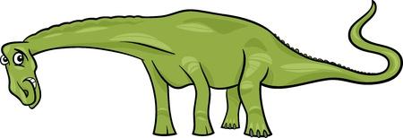 mesozoic: Cartoon Illustration of Diplodocus Dinosaur Prehistoric Reptile Species Illustration