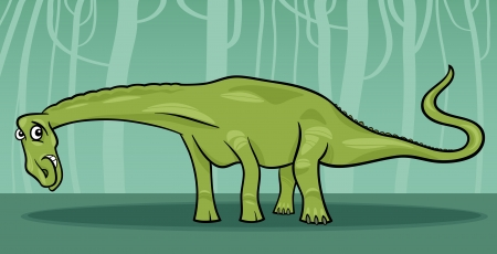 doomed: Cartoon Illustration of Diplodocus Dinosaur Reptile Species in Prehistoric World Illustration