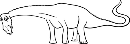 diplodocus: Cartoon Illustration of Diplodocus Dinosaur Prehistoric Reptile Species for Coloring Book or Page