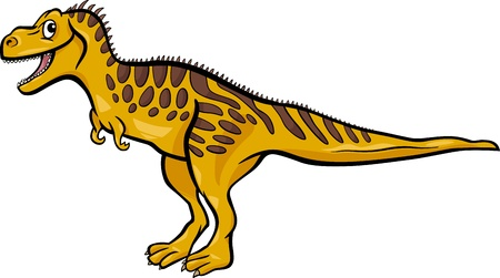 doomed: Cartoon Illustration of Tarbosaurus Dinosaur Prehistoric Reptile Species
