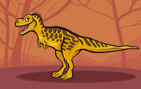 doomed: Cartoon Illustration of Tarbosaurus Dinosaur Reptile Species in Prehistoric World