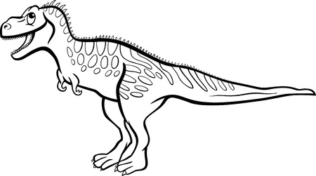 doomed: Cartoon Illustration of Tarbosaurus Dinosaur Prehistoric Reptile Species for Coloring Book or Page Illustration