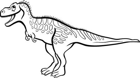 mesozoic: Cartoon Illustration of Tarbosaurus Dinosaur Prehistoric Reptile Species for Coloring Book or Page Illustration